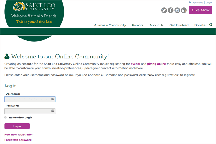 Saint Leo University Login Form