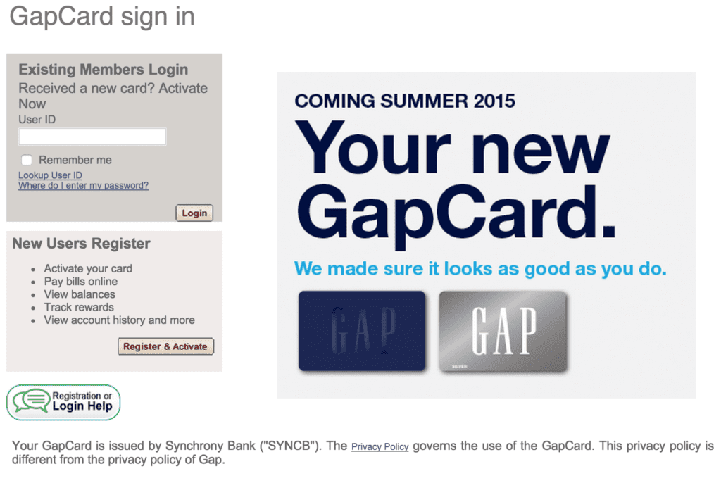 login guide for Gap Credit Card