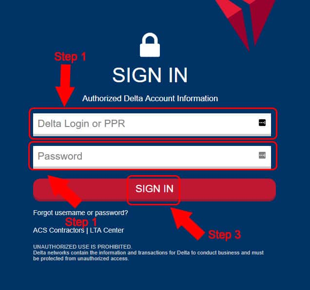 delta airlines login page
