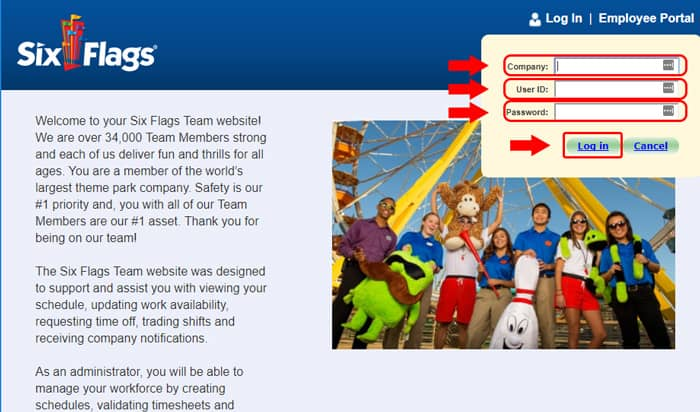 six flags login portal