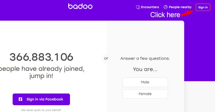 badoo homepage sign in