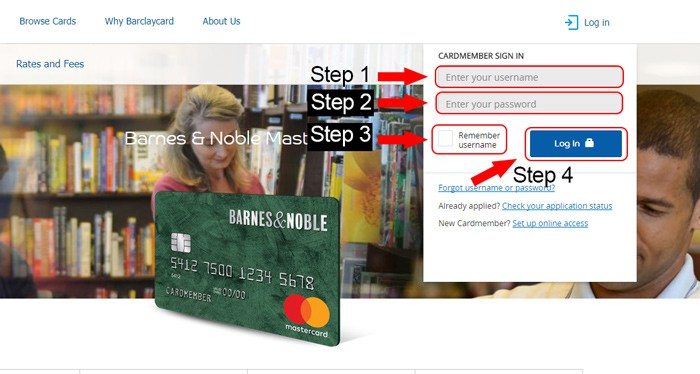 barnes and noble credit card login