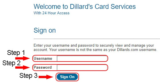 dillards credit card login