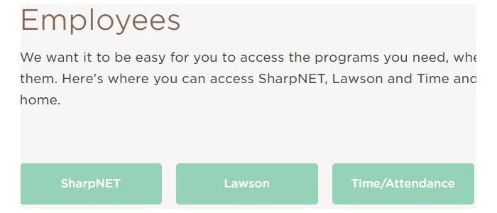 SharpNet Lawson and Time Attendance login buttons