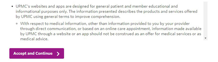 MyUPMC Create Account Accept Conditions